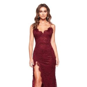 Red/burgundy Lace Dress with split thigh